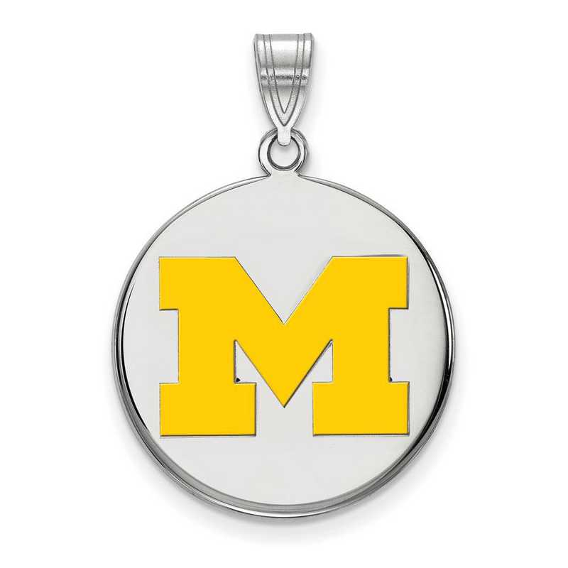 SS039UM: SS LogoArt Michigan (Univ Of) LG Yellow Enamel Disc Pendant