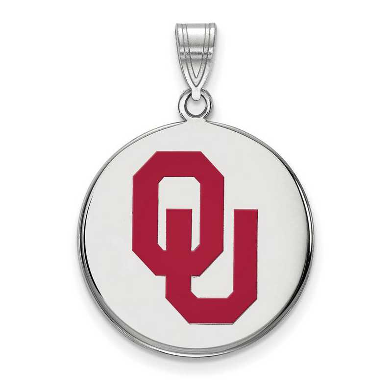 SS039UOK: SS LogoArt Univ of Oklahoma LG Enamel Disc Pendant