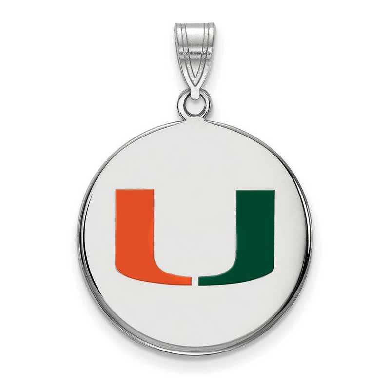 SS042UMF: SS LogoArt Univ of Miami LG Enamel Disc Pendant