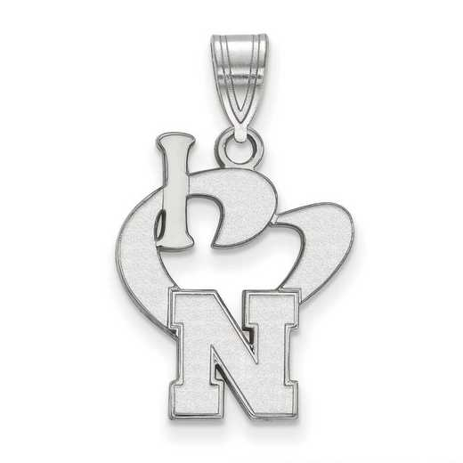 SS049UNE: SS LogoArt Univ of Nebraska Large I Love Logo Pendant