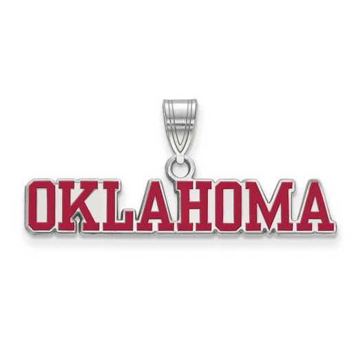 SS050UOK: SS LogoArt Univ of Oklahoma LG Enamel Pendant