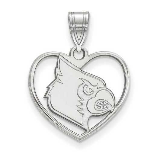 SS052UL: SS LogoArt Univ of Louisville Pendant in Heart