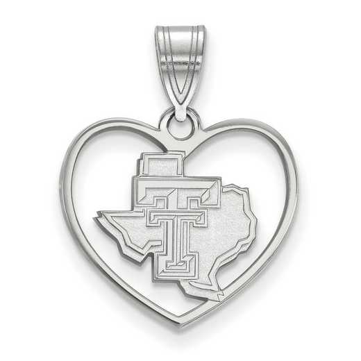 SS056TXT: SS LogoArt Texas Tech Univ Pendant in Heart