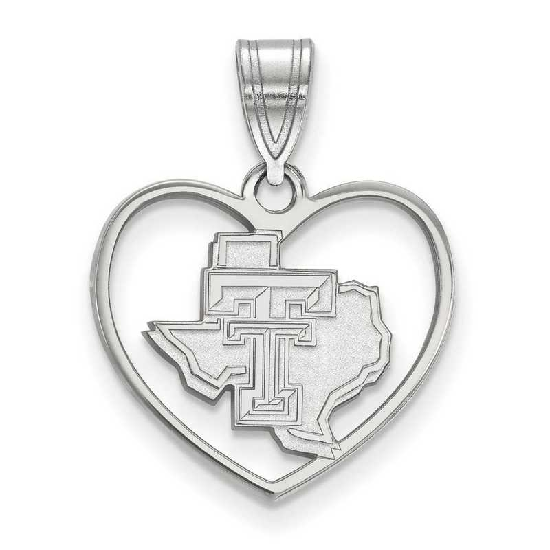 SS056TXT: SS LogoArt Texas Tech Univ Pendant in Heart