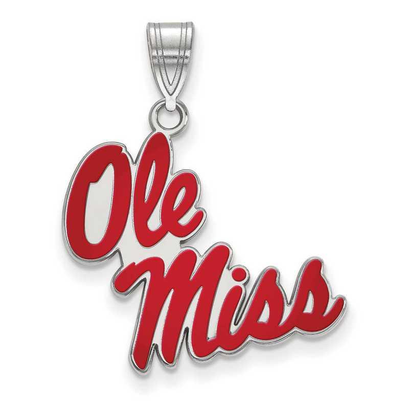SS057UMS: SS LogoArt Univ of Mississippi LG Enamel Pendant