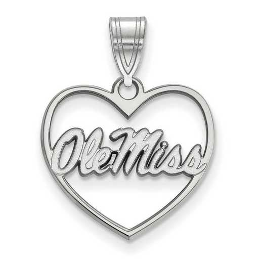 SS066UMS: SS LogoArt Univ of Mississippi Pendant in Heart