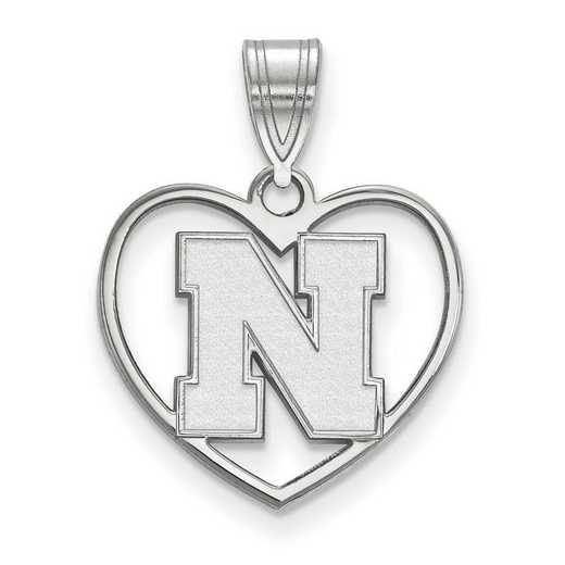 SS075UNE: SS LogoArt Univ of Nebraska Pendant in Heart