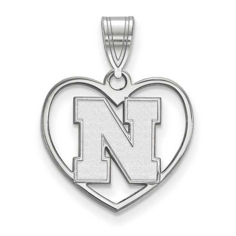 SS075UNE: SS LogoArt Univ of Nebraska Pendant in Heart
