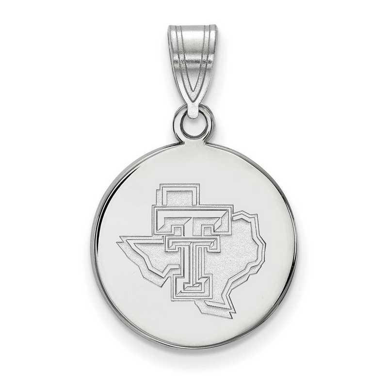 SS076TXT: SS LogoArt Texas Tech Univ Medium Pendant