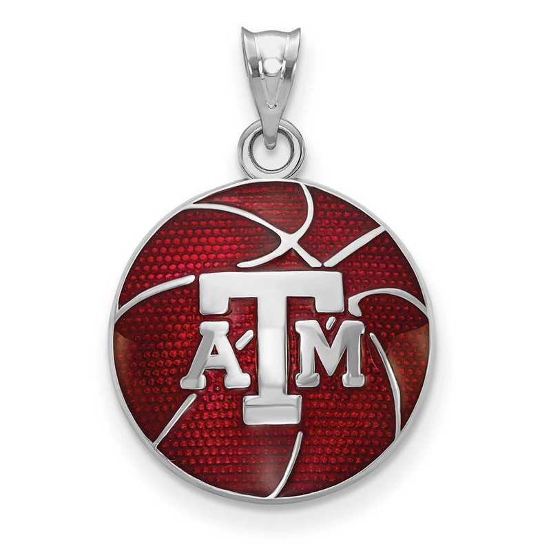 SS509TAM: SS Texas A&M Univ Domed Enameled Basketball Pendant