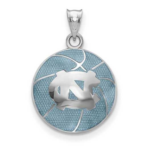 SS509UNC: SS Univ. of North Carolina Domed Enameled Basketball Pendant