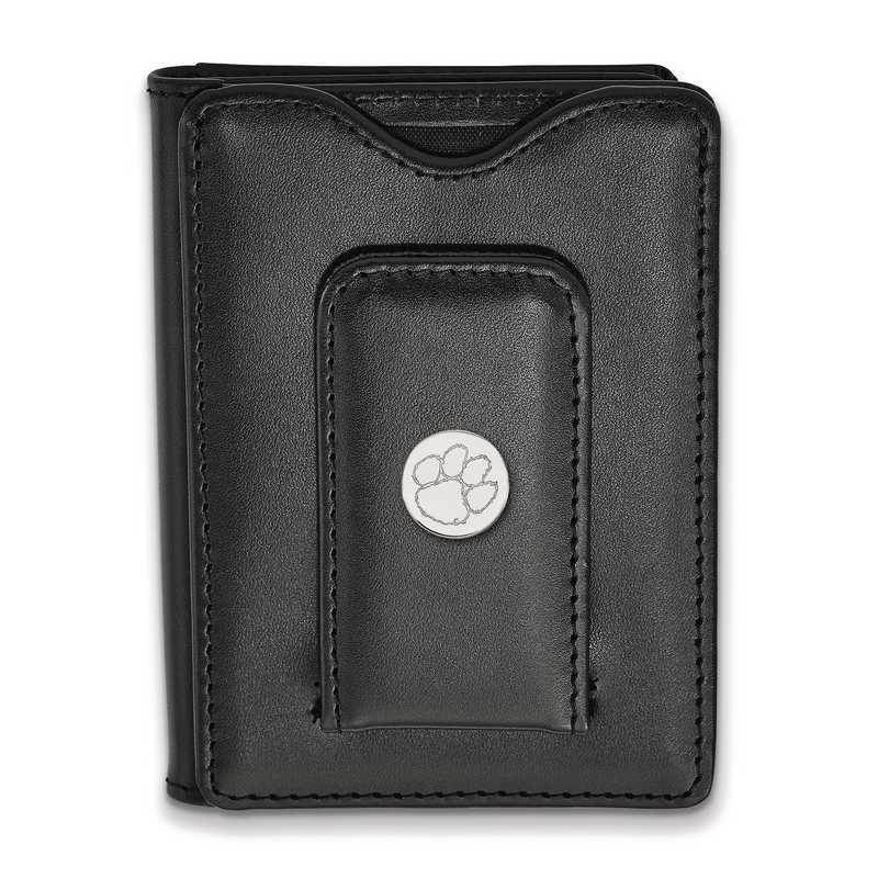 SS013CU-W1: 925 LA Clemson University Blk Lea Money Clip Wallet