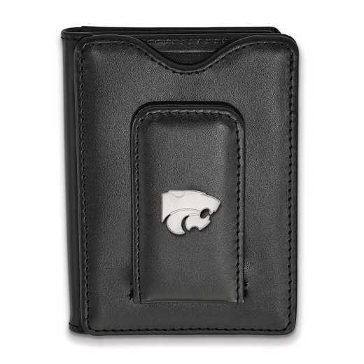 SS013KSU-W1: 925 LA Kansas State University Blk Lea Wallet