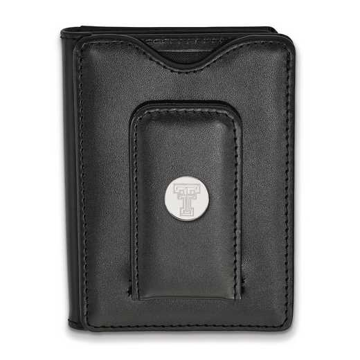 SS013TXT-W1: 925 LA Texas Tech University Blk Lea Money Clip Wall