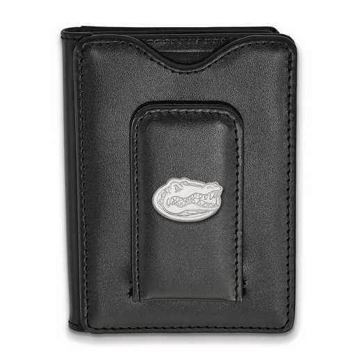 SS013UFL-W1: 925 LA University of Florida Blk Lea Money Clip Wall