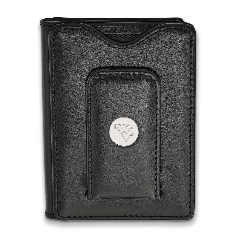 SS013WVU-W1: 925 LA West Virginia University Blk Lea Wallet