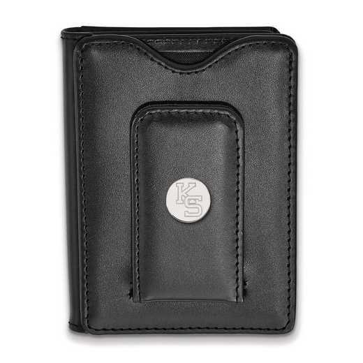 SS054KSU-W1: 925 LA Kansas State University Blk Lea Wallet