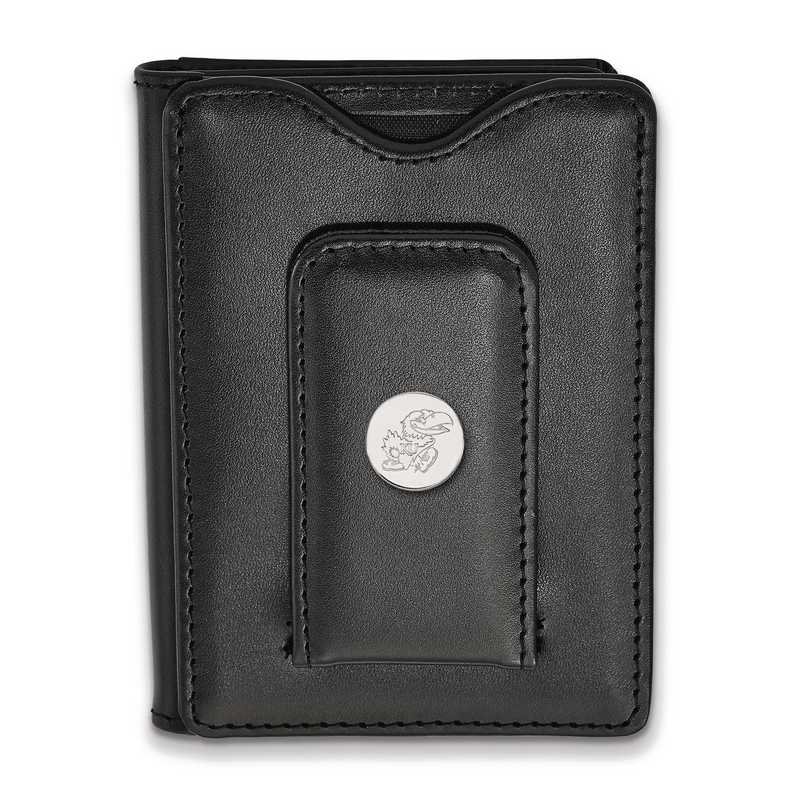 SS072UKS-W1: 925 LA University of Kansas Blk Lea Wallet