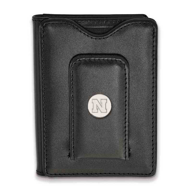 SS087UNE-W1: 925 LA University of Nebraska Blk Lea Wallet