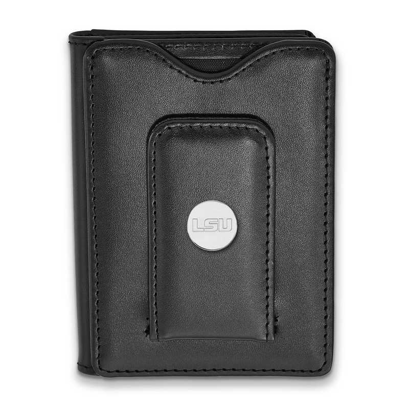 SS090LSU-W1: 925 LA Louisiana State University Blk Lea Wallet