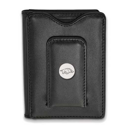 SS012UAR-W1: 925 LA University of Arkansas Blk Lea Wallet
