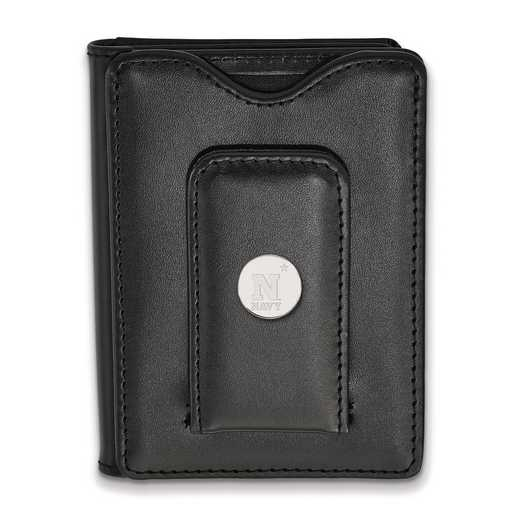 SS003USN-W1: SS LogoArt Navy Blk Leather Money Clip Wallet