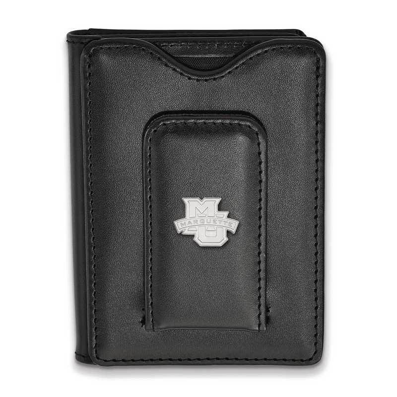 SS005MAR-W1: SS LogoArt Marquette Univ Blk Leather Wallet