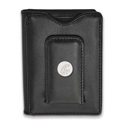 SS010WAS-W1: SS LogoArt Washington State Blk Leather Money Clip Wallet