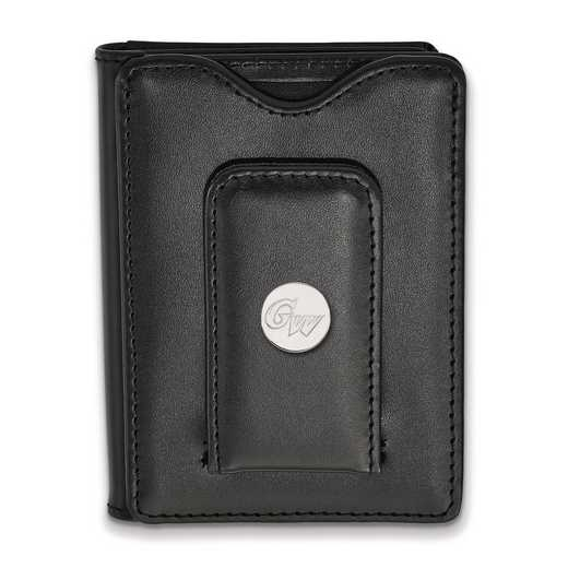 SS011GWU-W1: SS LogoArt George Washington Unv Blk Leather MoneyClipWallet