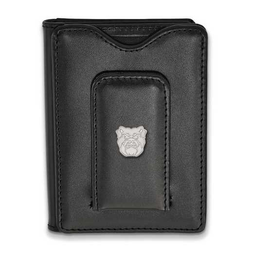 SS012BUT-W1: SS LogoArt Butler Univ Blk Leather Money Clip Wallet