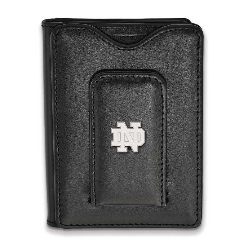 SS012UND-W1: SS LogoArt Notre Dame Blk Leather Money Clip Wallet