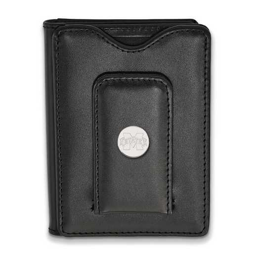 SS013MSS-W1: SS LogoArt Mississippi State Univ Blk Leather Wallet
