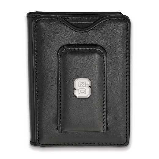 SS013NCS-W1: SS LogoArt North Carolina State Univ Blk Leather Walle