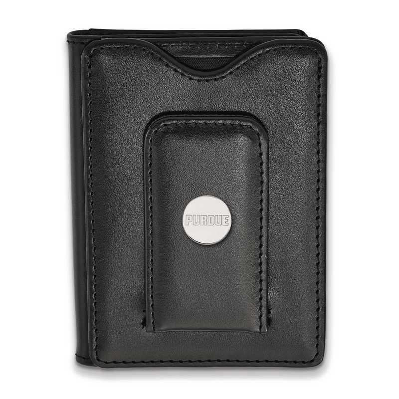 SS013PU-W1: SS LogoArt Purdue Blk Leather Wallet