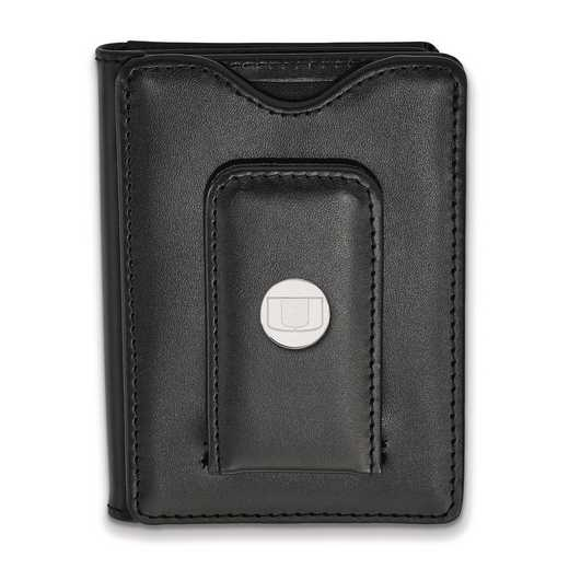 SS013UMF-W1: SS LogoArt Univ of Miami Blk Leather Money Clip Wallet