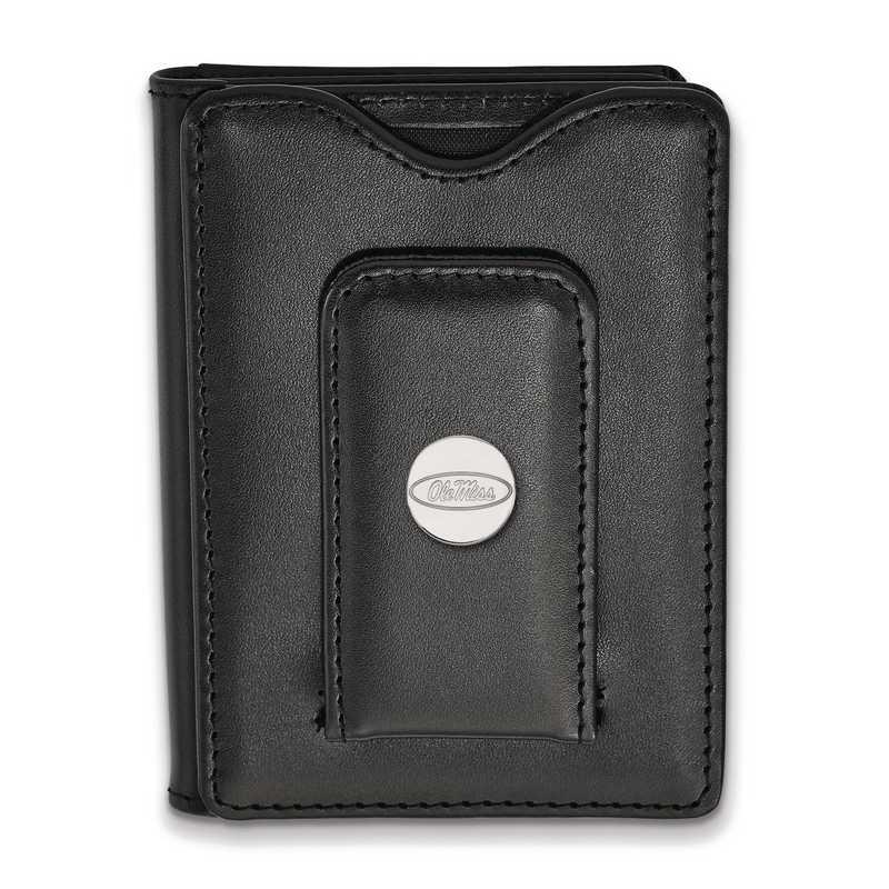 SS013UMS-W1: SS LogoArt Univ of Mississippi Blk Leather Wallet
