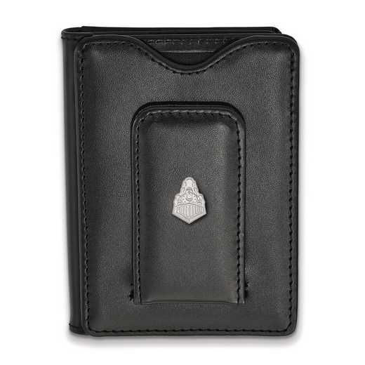 SS048PU-W1: SS LogoArt Purdue Blk Leather Money Clip Wallet