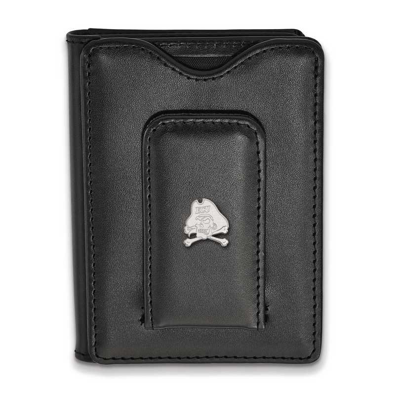 SS061ECU-W1: SS LogoArt East Carolina Univ Blk Leather Wallet