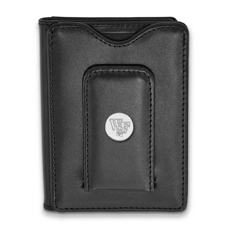 SS074WFU-W1: SS LogoArt Wake Forest Univ Blk Leather Wallet