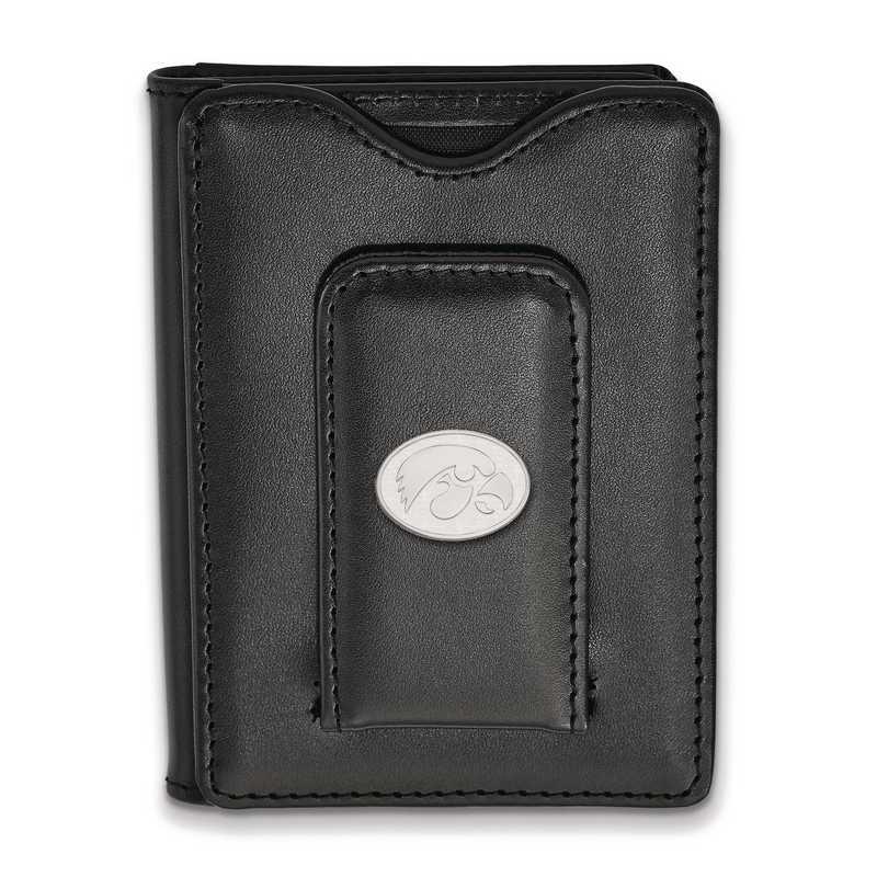 SS089UIA-W1: SS LogoArt Univ of Iowa Blk Leather Money Clip Wallet