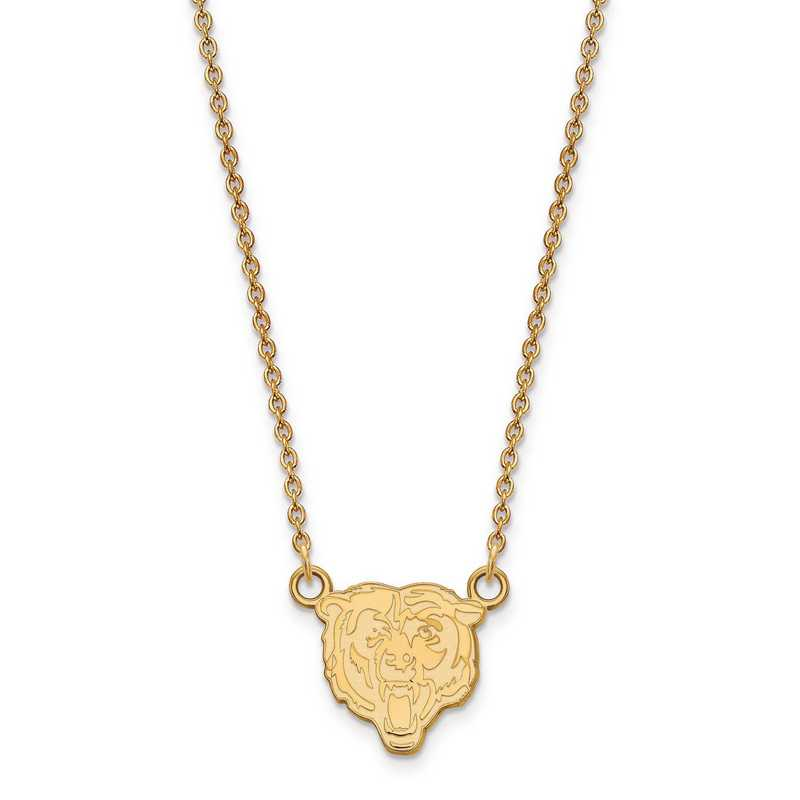 GP011BEA-18: 925 YGFP Chicago Bears Pendant Necklace