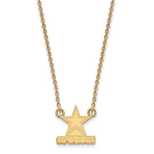 GP011COW-18: 925 YGFP Dallas Cowboys Pendant Necklace