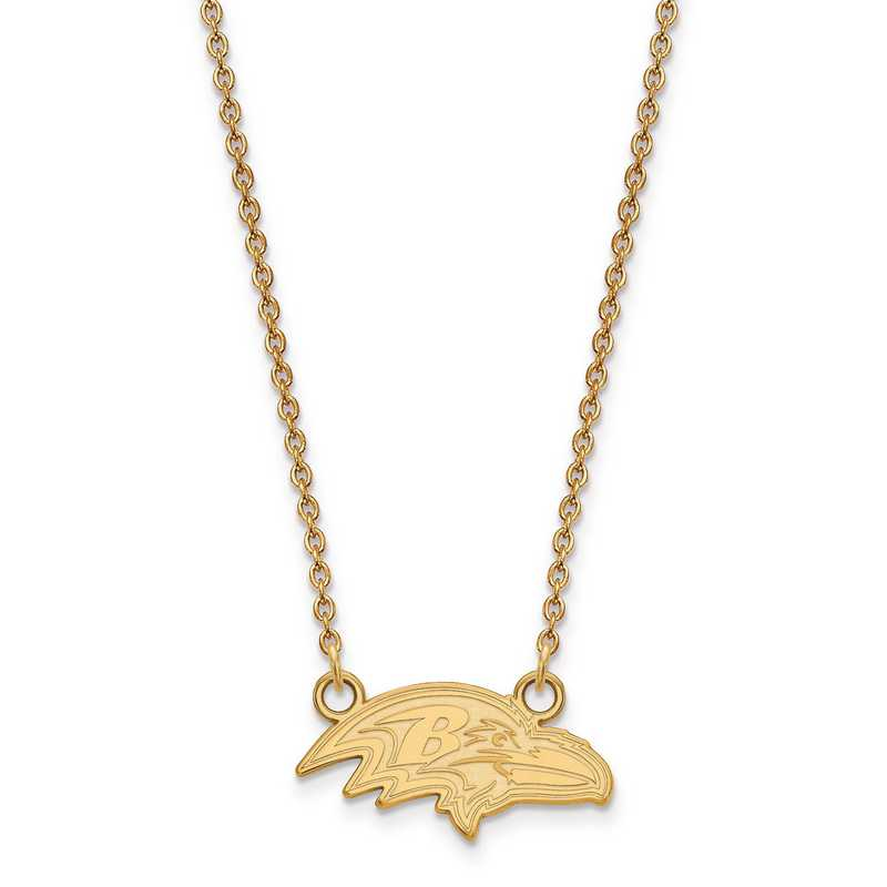GP011RAV-18: 925 YGFP Baltimore Ravens Pendant Necklace