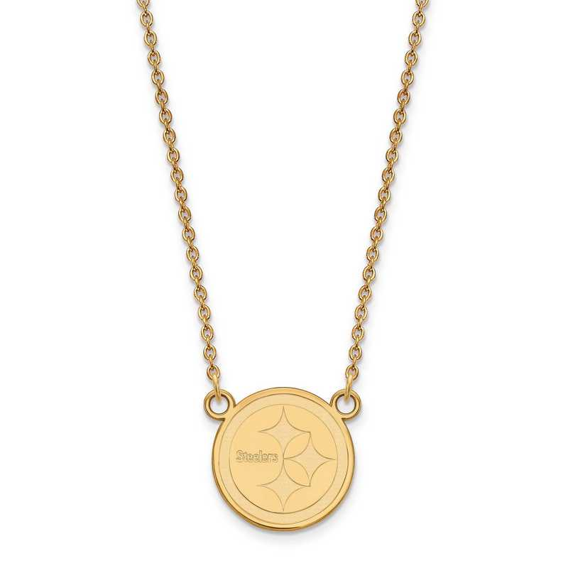 GP011STE-18: 925 YGFP Pittsburgh Steelers Pendant Necklace