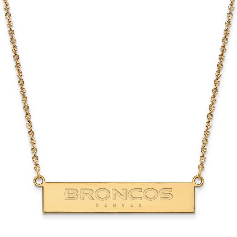 GP016BRO-18: 925 YGFP Denver Broncos Bar Necklace