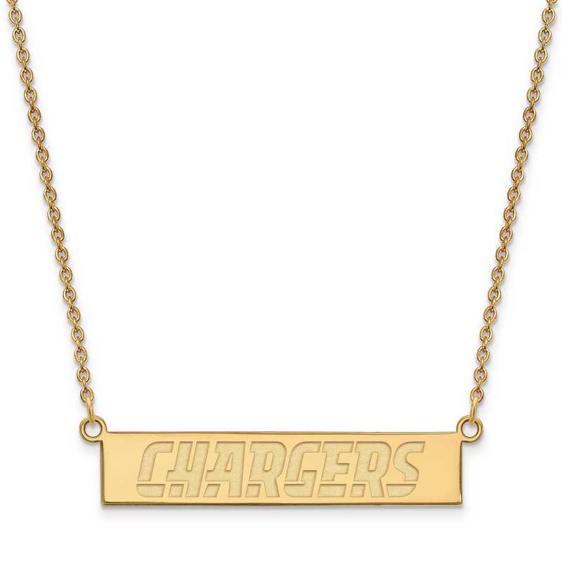 GP016CHA-18: 925 YGFP Los Angeles Chargers Bar Necklace