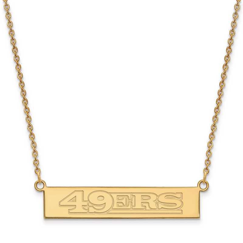 GP016FOR-18: 925 YGFP San Francisco 49ers Bar Necklace