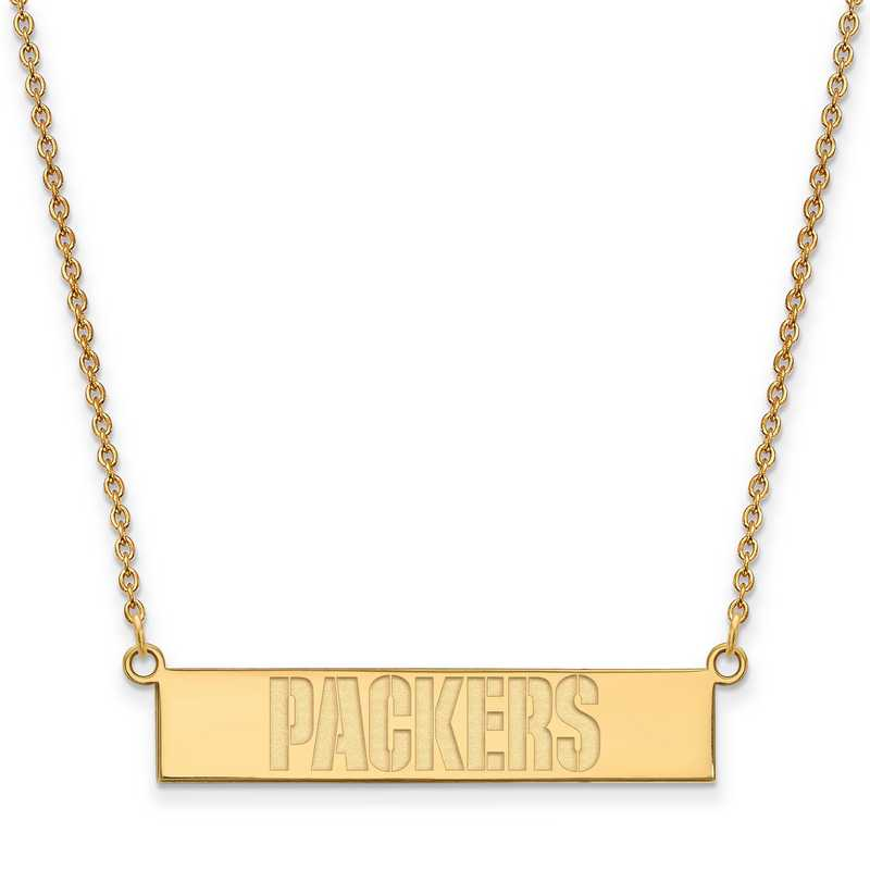 GP016PAC-18: 925 YGFP Green Bay Packers Bar Necklace