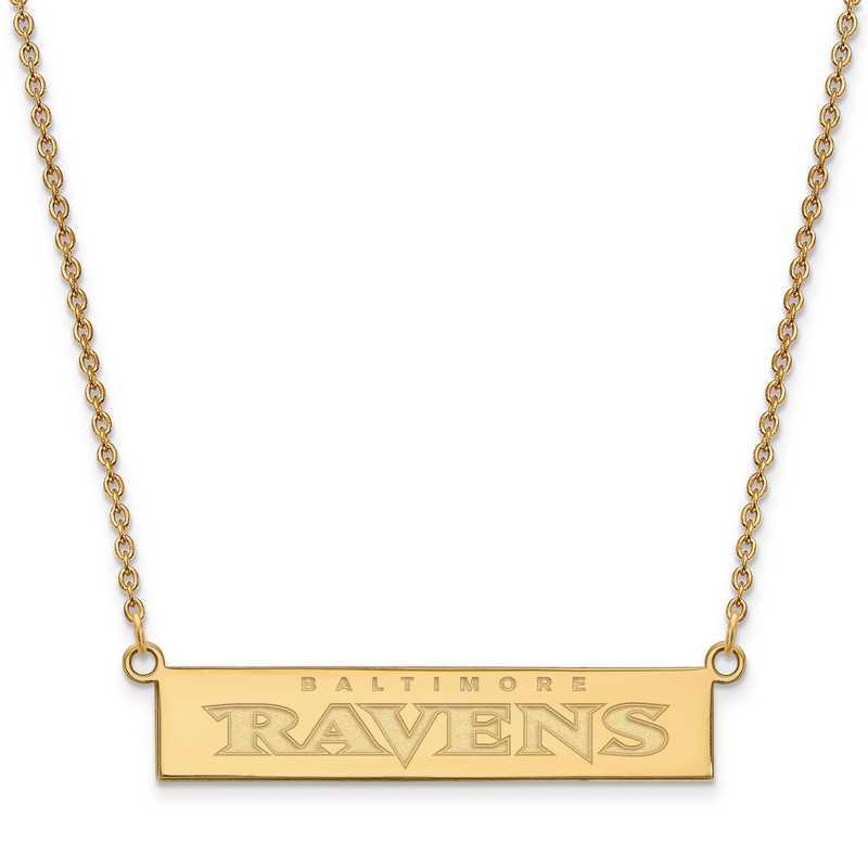 GP016RAV-18: 925 YGFP Baltimore Ravens Bar Necklace