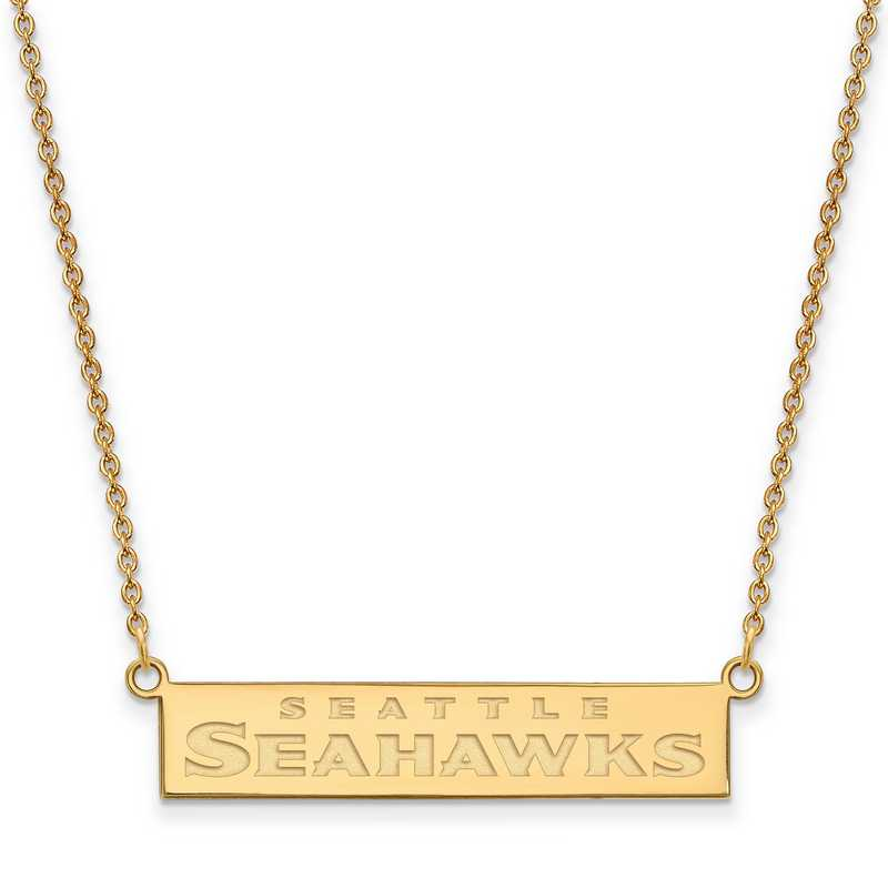 GP016SEA-18: 925 YGFP Seattle Seahawks Bar Necklace